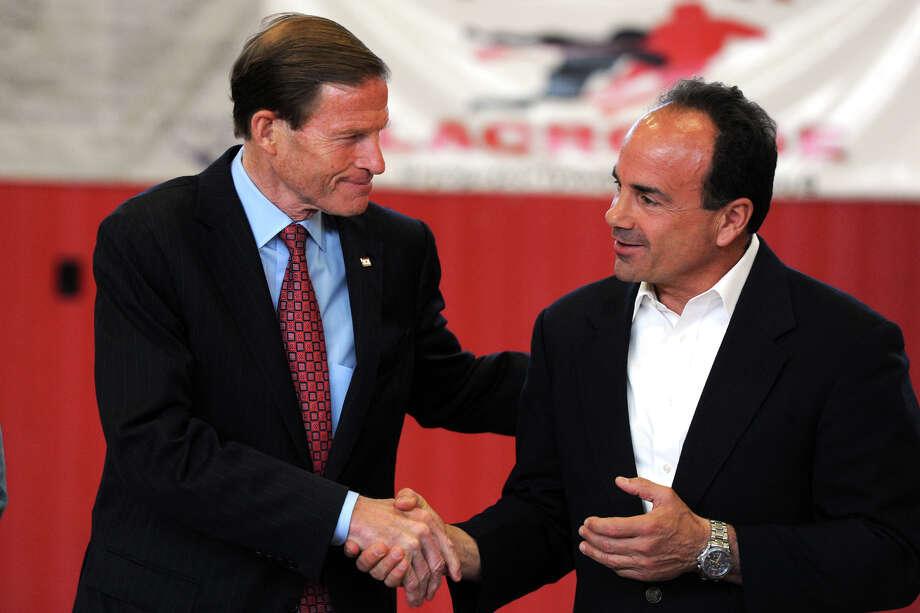 U.S. Sen. Richard Blumenthal greets Mayor Joe Ganim a news at a June 13, 2016 news conference. Photo: Ned Gerard / Hearst Connecticut Media / Connecticut Post