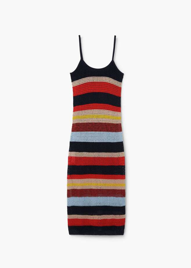 Crochet dresses are making their way into a summer near you this year. Whether long and striped, as this one from Barcelona-based fashion company Mango, or short and solid, they are a go-to look for women of all ages. Photo: Mango / Contributed Photo / Connecticut Hearst Media
