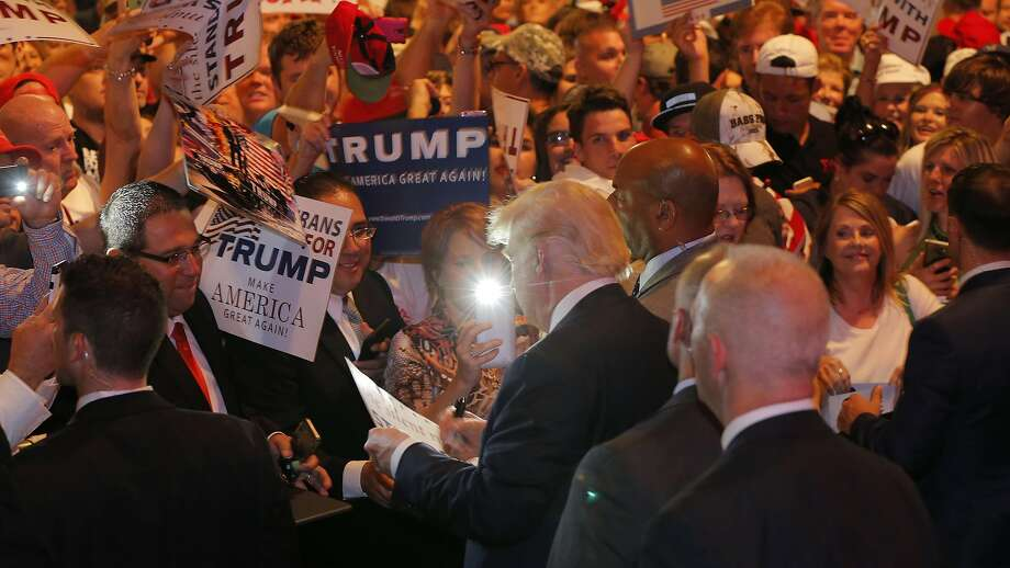 Donald Trump shakes hands with supporters after he speaks at a rally at Gilley's Dallas on Thursday, June 16, 2016. (Rodger Mallison/Fort Worth Star-Telegram/TNS) Photo: Rodger Mallison, TNS
