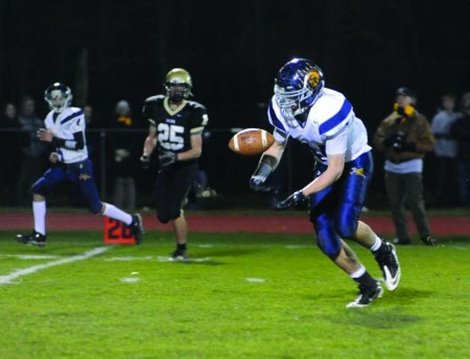 Weston High School #44 Jacob Spencer vs. Joel Barlow on Wednesday night. photo/matthew vinci