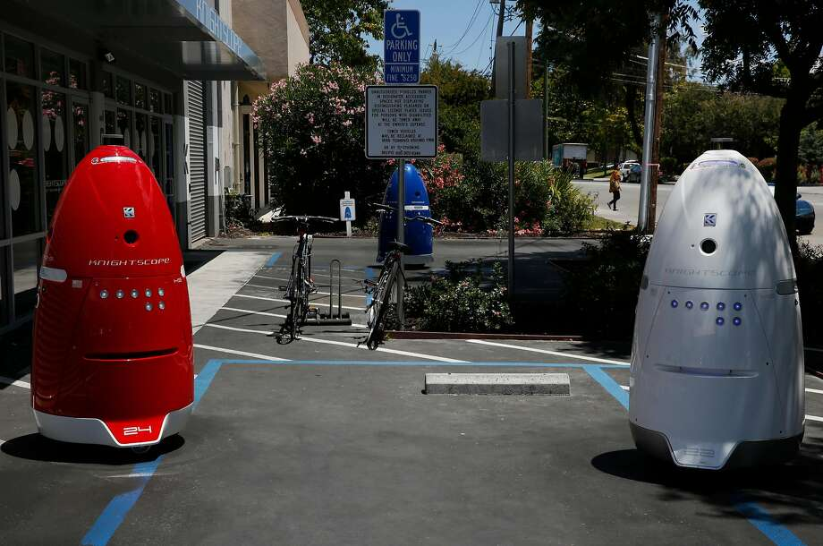 Knightscope's K5 autonomous security robots roam around outside of Knightscope's headquarters June 15, 2016 in Mountain View, Calif. Photo: Leah Millis, The Chronicle