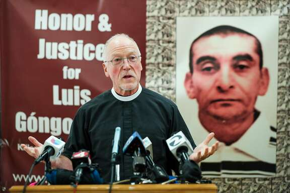 Father Richard Smith introduces civil rights attorney John Burris (not pictured) before announcing the filing of a claim against the city and county of San Francisco for the April 7, 2016 shooting and death of Luis G�ngora Pat, at a press conference in  San Francisco, California, on Friday, June 17, 2016.