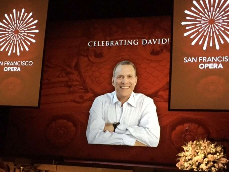Projection screen center-stage at SF Opera House for David Gockley tribute