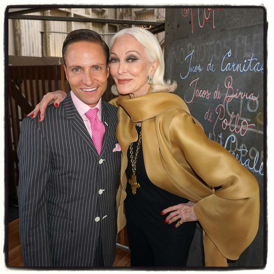 Designer Ken Fulk and model Carmen Dell'Orefice at his loft for her Q&A with David Downton. Photo: Catherine Bigelow, Special To The Chronicle