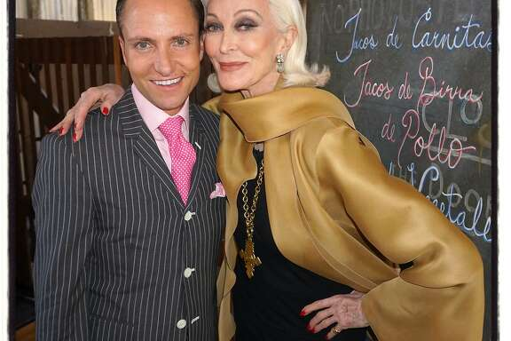 Designer Ken Fulk and model Carmen Carmen Dell�Orefice at his loft for her David Downton Q&A. June 2016.