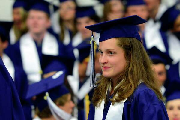 Graduate and Hearst Female Athlete of the Year Hannah DeBalsi during Staples High School's Class of 2016 Commencement Ceremony in Westport, Conn., on Friday June 17, 2016.