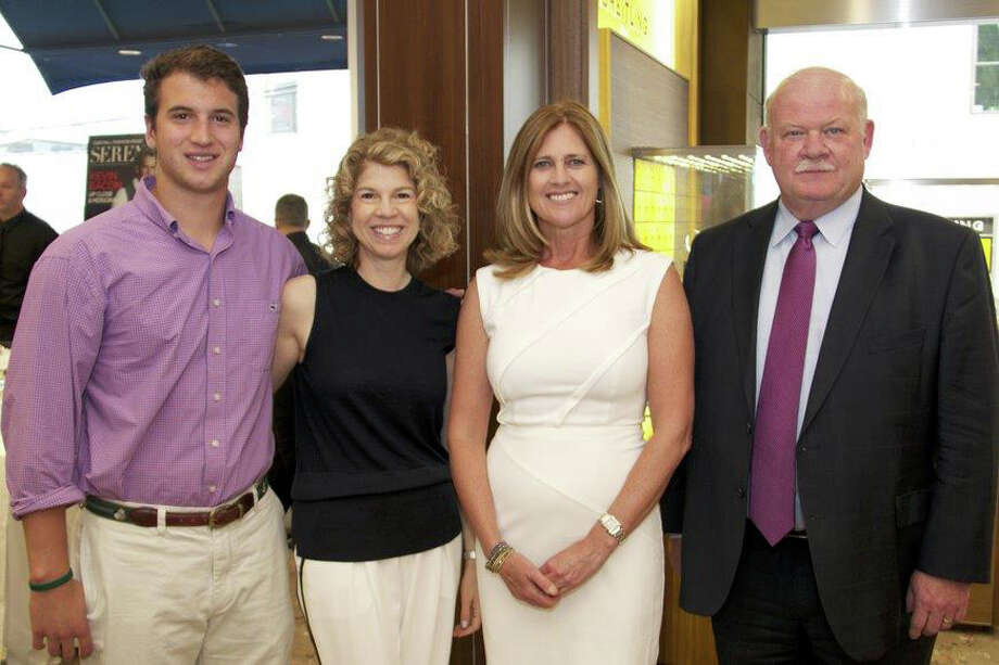 From left: former NICU graduate Ben Rogers with mom and event honoree Dana Rogers, event honoree Maureen Bonanno and Greenwich Hospital President Norman Roth at Greenwich Hospital's Under the Stars Patron Party at Shreve Crump and Low in Greenwich last week. Photo: Contributed / Contributed Photo / Greenwich Time Contributed