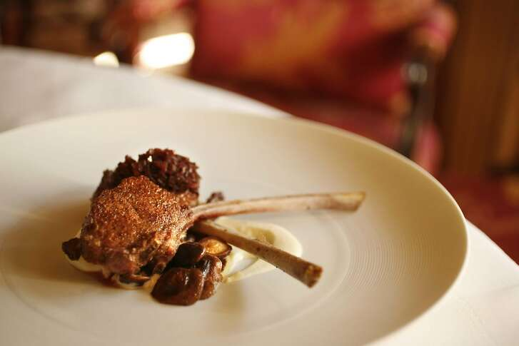 CHRISTMAS19_ritz_107_cl.JPG Ron Siegel, chef of the Dining Room at the Ritz Carlton, with his Christmas dish: Lamb Chops with Sunchoke Puree and Shallot Marmalade. Photo of the finished dish. on 12/5/07 in San Francisco.  photo by Craig Lee / The Chronicle Ran on: 12-19-2007 Thomas Keller, The French Laundry Herb-Roasted Sirloin of Beef with Beurre Colbert