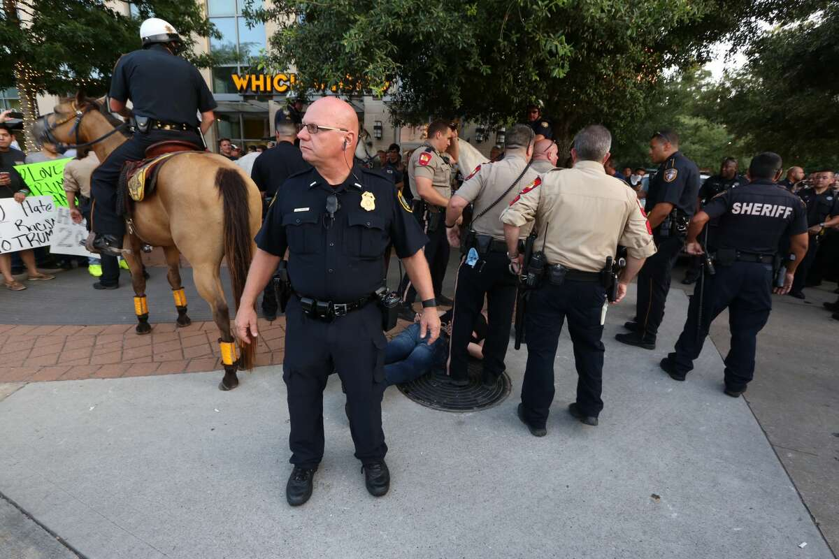 Several arrest were made in front of the Marriott Hotel during the Donald Trump rally. See the gallery for more scenes from the rally in The Woodlands.