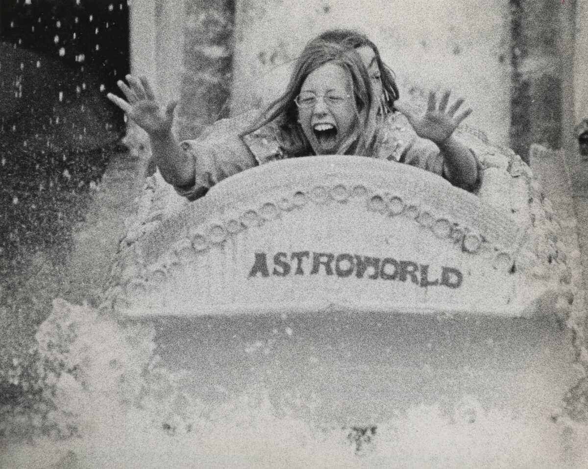 The face of a young girl mirrors the excitement of a watery ride on the opening day of the summer season at AstroWorld in 1973.