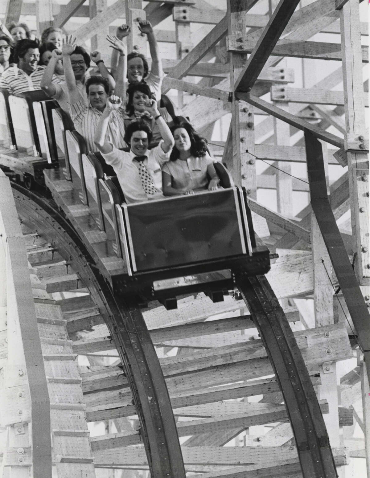 Riders on the Texas Cyclone, Astroworld's thriller roller coaster on June 22, 1976.