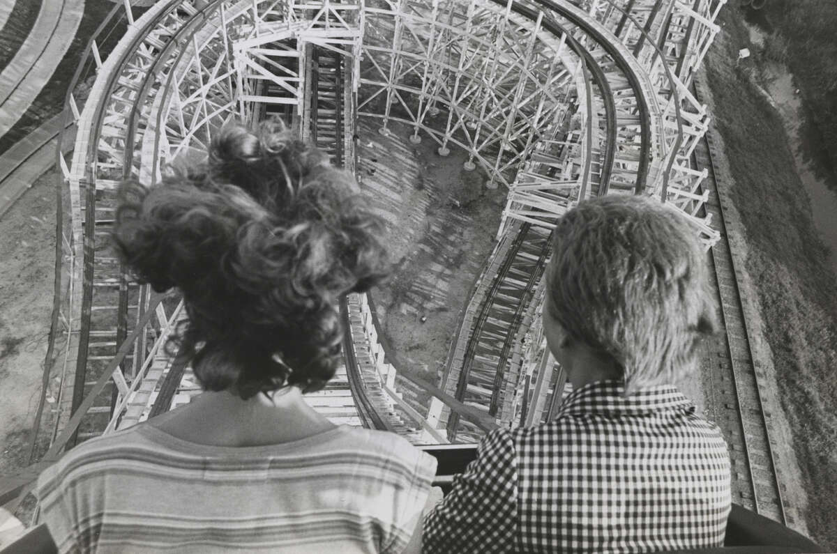 The work of Blair Pittman at the Houston Chronicle AstroWorld Texas Cyclone roller coaster ride on June 22, 1976.