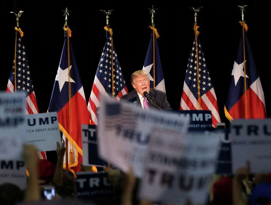 Donald Trump speaks during a campaign rally in The Woodlands on Friday. Photo: Jon Shapley, Houston Chronicle / © 2015  Houston Chronicle