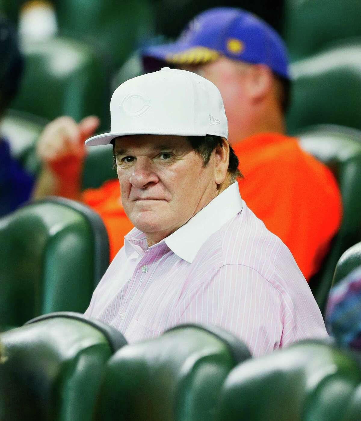 HOUSTON, TX - JUNE 17: Former Cincinnati Reds player and manager Pete Rose watches as the Cincinnati Reds play the Houston Astros at Minute Maid Park on June 17, 2016 in Houston, Texas.