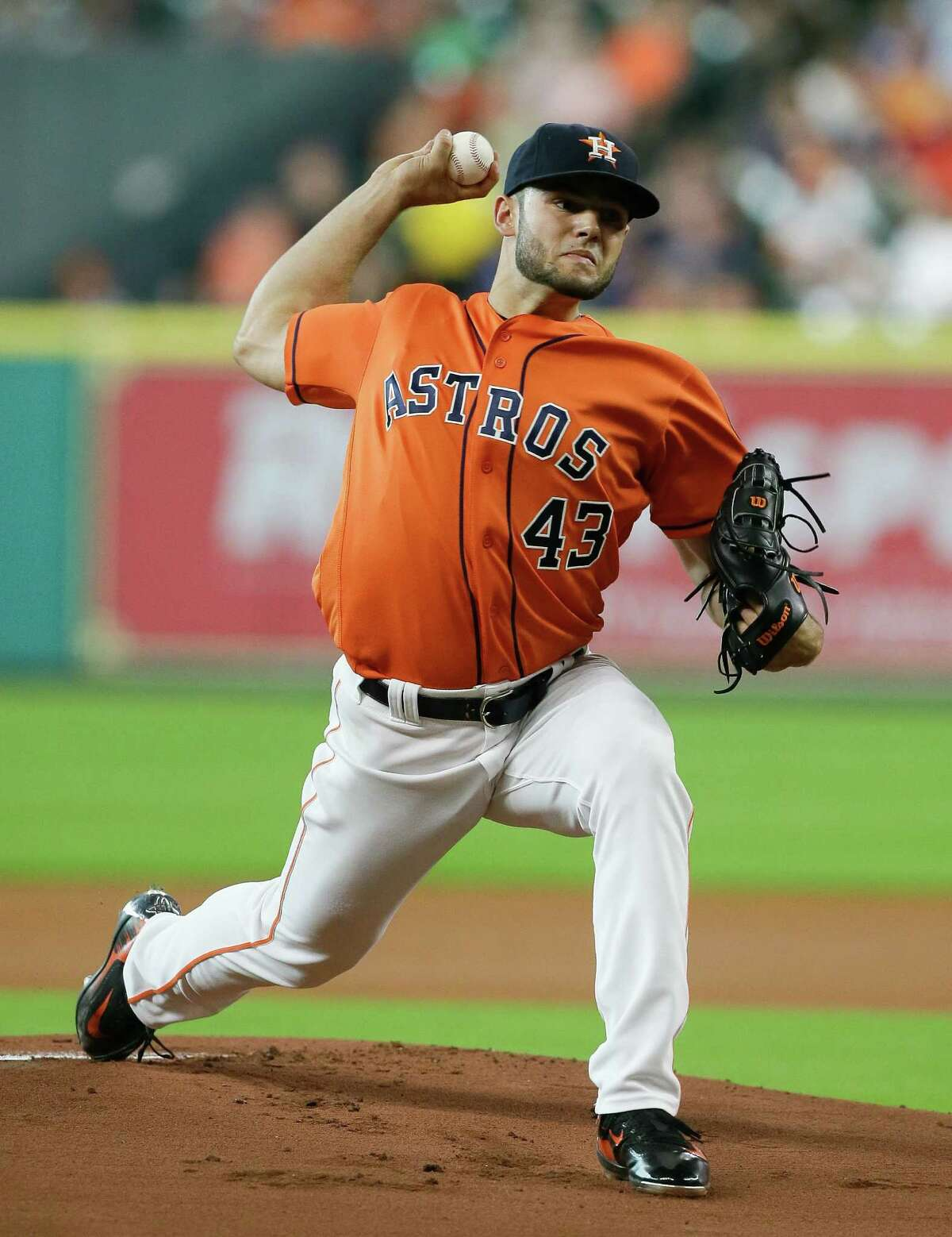 HOUSTON, TX - JUNE 17: Lance McCullers #43 of the Houston Astros pitches in the first inning against the Cincinnati Reds at Minute Maid Park on June 17, 2016 in Houston, Texas.