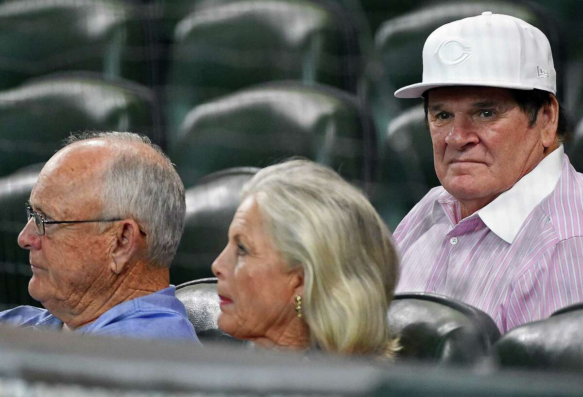 June 17: Reds 4, Astros 2 (11 innings) Pete Rose, right, and Nolan Ryan, left, watch a baseball game between the Houston Astros and the Cincinnati Reds, Friday, June 17, 2016, in Houston. (AP Photo/Eric Christian Smith)