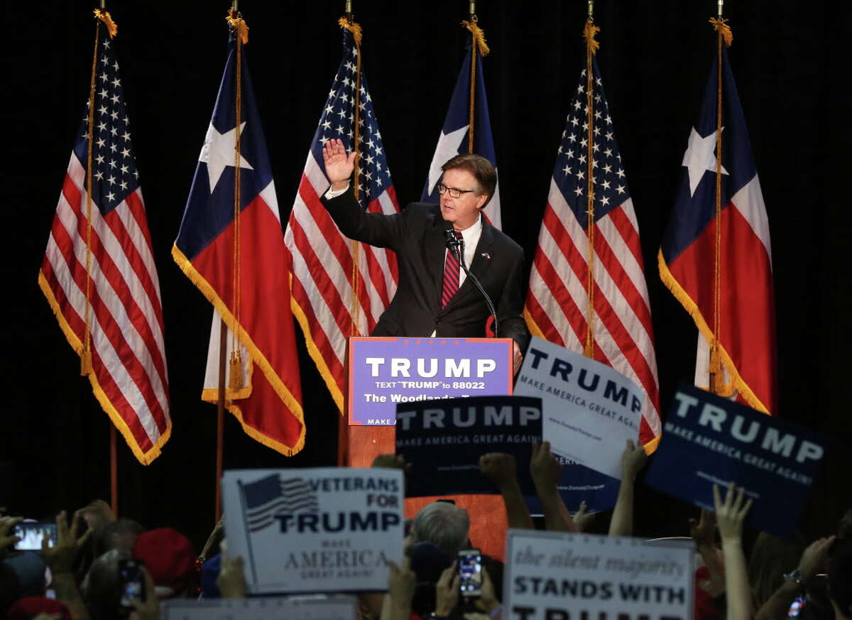 Texas Lt. Gov. Dan Patrick speaks before Donald Trump during a campaign rally at the Woodlands Waterway Marriott, Friday, June 17, 2016, in The Woodlands.
