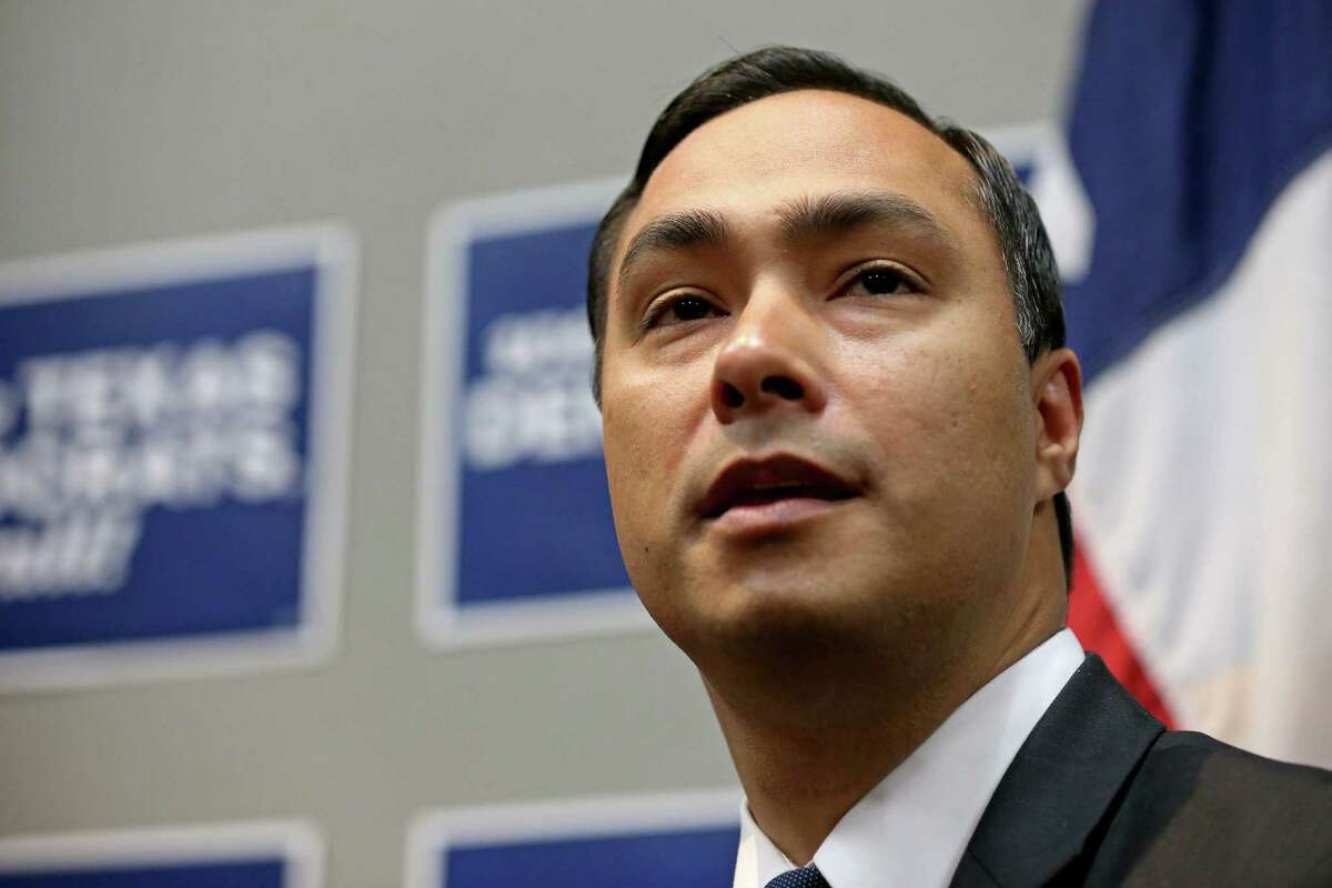 U.S. Rep. Joaquin Castro, D-San Antonio, answer questions from the media at a press conference with his twin brother Secretary of Housing and Urban Development and former San Antonio mayor Julian Castro (not pictured) during the 2016 Texas Democratic Convention held Friday June 17, 2016 at the Alamodome.