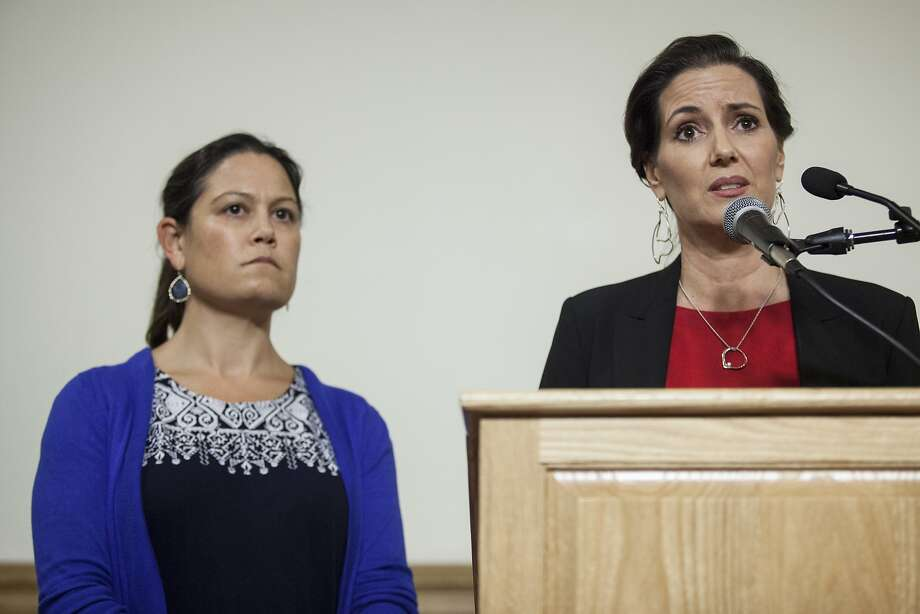 Oakland Mayor Libby Schaaf, flanked by City Administrator Sabrina Landreth, addressed the media about Landreth's appointment to over see the Oakland Police department during a press conference at City Hall in Oakland last month. Photo: Peter DaSilva, Special To The Chronicle
