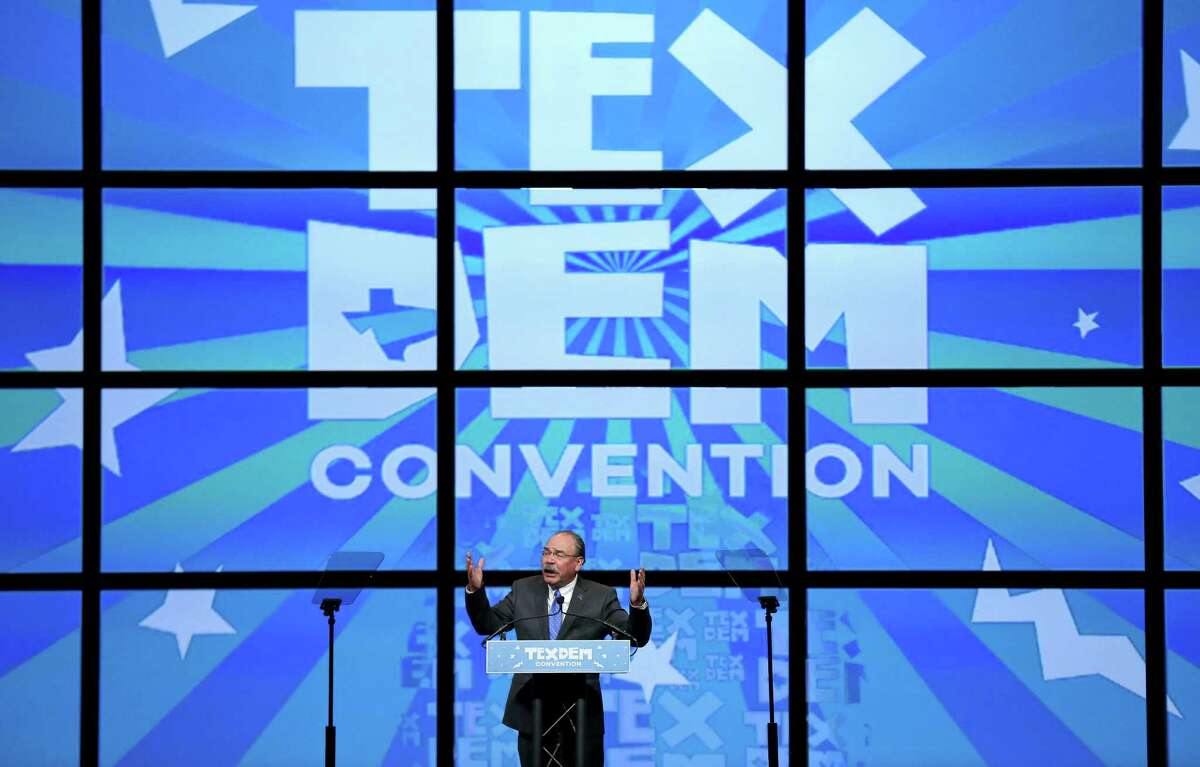 Texas Democratic chairman Gilberto Hinojosa revs up the crowd at the 2016 Texas Democratic Convention at the Alamodome earlier this month.