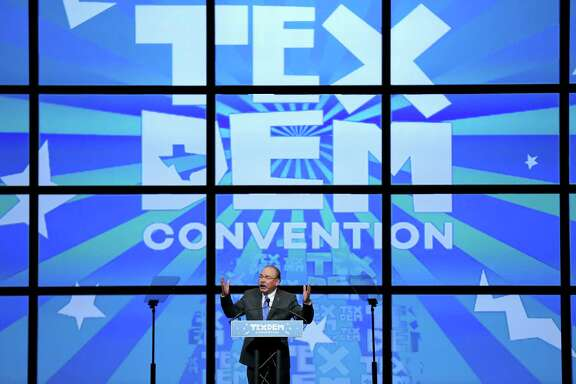 Texas Democratic chairman Gilberto Hinojosa revs up the crowd at the 2016 Texas Democratic Convention on Friday  at the Alamodome.