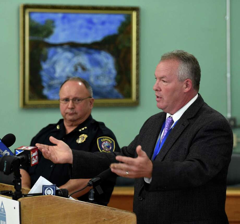 Cohoes Mayor Shawn Morse, right, speaks to the media about the Thursday evening fatal pedestrian accident at the intersection of Bridge Avenue and Interstate 787 on Friday, June 17, 2016, in Cohoes, N.Y.  Joining Mayor Morse is Cohoes Police Chief William Heslin.  (Skip Dickstein/Times Union) Photo: SKIP DICKSTEIN / 40037038A