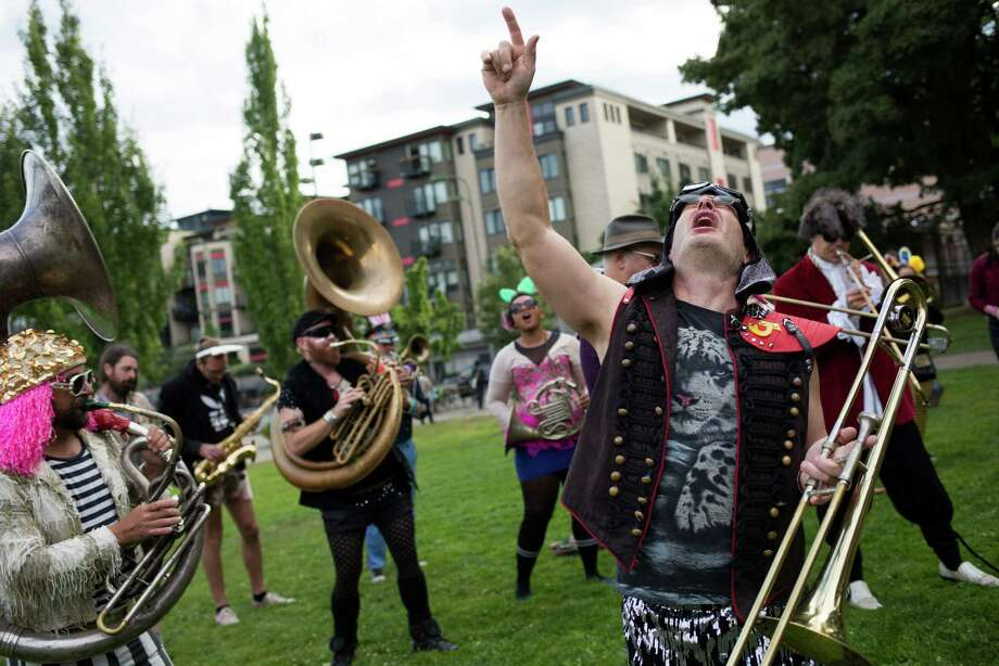 Environmental Encroachment of Chicago performs during HONK! Fest West in Capitol Hill on Friday, June 17, 2016. The street-performer festival spans several venues throughout the weekend and some bands will march in the Fremont Solstice Parade. Photo: GRANT HINDSLEY, SEATTLEPI.COM / SEATTLEPI.COM