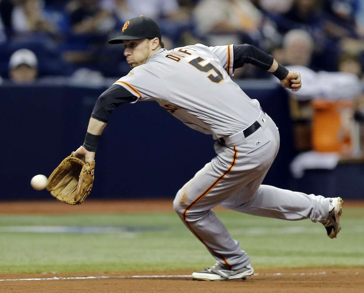 San Francisco Giants third baseman Matt Duffy fields a ground ball by Tampa Bay Rays' Logan Forsythe during the ninth inning of a baseball game Friday, June 17, 2016, in St. Petersburg, Fla. Forsythe was out at first base. (AP Photo/Chris O'Meara)