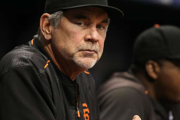 ST. PETERSBURG, FL - JUNE 17:  Manager Bruce Bochy #15 of the San Francisco Giants looks on from the dugout during the seventh inning of a game against the Tampa Bay Rays on June 17, 2016 at Tropicana Field in St. Petersburg, Florida. (Photo by Brian Blanco/Getty Images)