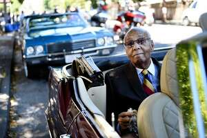 Grand Marshall Earl Gage waits for the start the parade opening the Juneteenth Celebration in the Fillmore District of San Francisco, CA Saturday, June 18, 2016.