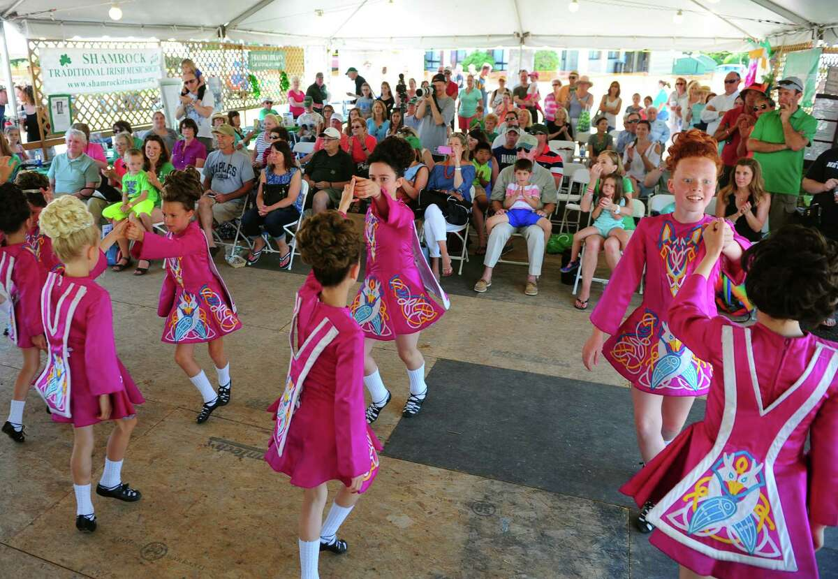 Dancers from the Lenihan School if Irish Dance perform during the Fairfield Couty Irish Festival at Fairfield University in Fairfield, Conn., on Saturday June 18, 2016. The event featured various bands like the Narrowback, the Fairfield Gaelic Pipe Band and the Highland Rovers Band among others. Participants were able to try authentic Irish cuisone, many brands of beer and kids were entertained as well with events like animals from the Critter Carivan and a scavenger hunt.