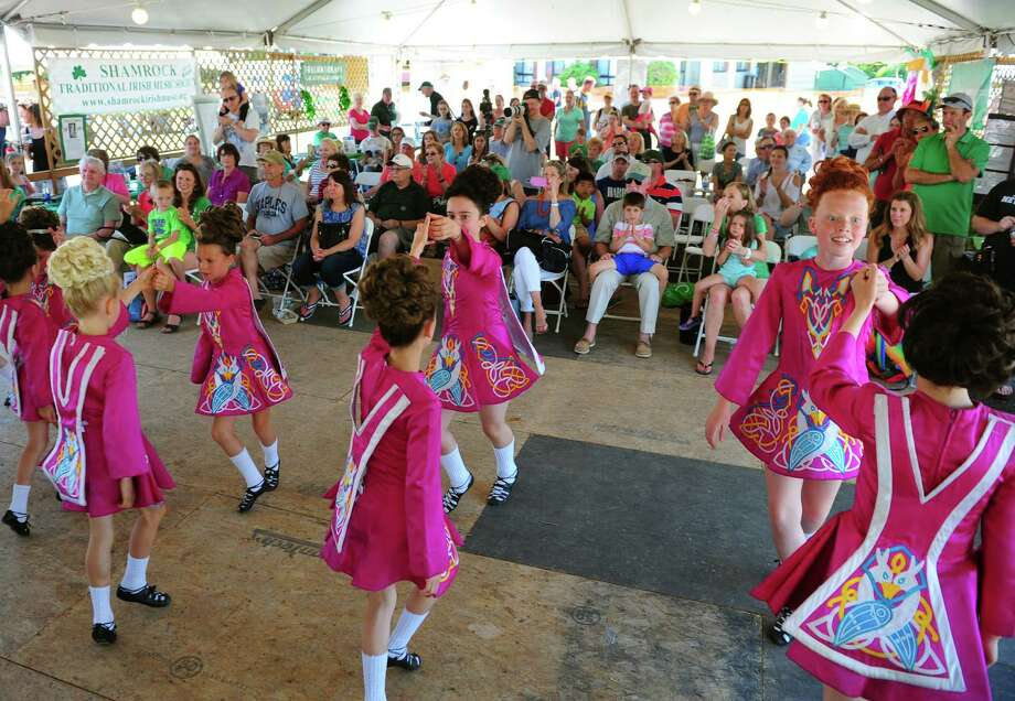 Dancers from the Lenihan School if Irish Dance perform during the Fairfield Couty Irish Festival at Fairfield University in Fairfield, Conn., on Saturday June 18, 2016. The event featured various bands like the Narrowback, the Fairfield Gaelic Pipe Band and the Highland Rovers Band among others. Participants were able to try authentic Irish cuisone, many brands of beer and kids were entertained as well with events like animals from the Critter Carivan and a scavenger hunt. Photo: Christian Abraham, Hearst Connecticut Media / Connecticut Post