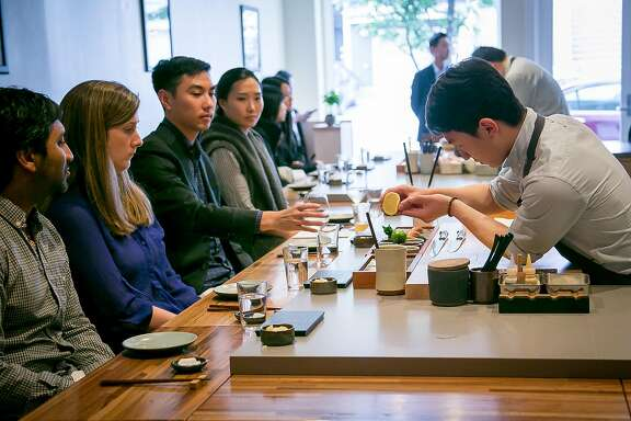 Sushi chef Steve Kim makes sushi for customers at Ju Ni  in San Francisco, California, on June 17th, 2016.