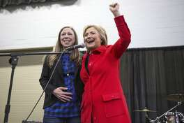 FILE — Chelsea Clinton joins Hillary Clinton on stage to campaign before the Iowa caucuses, in Des Moines, Jan. 30, 2016. Chelsea Clinton announced the birth of her second child, Aidan Clinton Mezvinsky, over Twitter on June 18, 2016; Hillary and Bill Clinton reported that both mother and child were doing well. (Doug Mills/The New York Times)