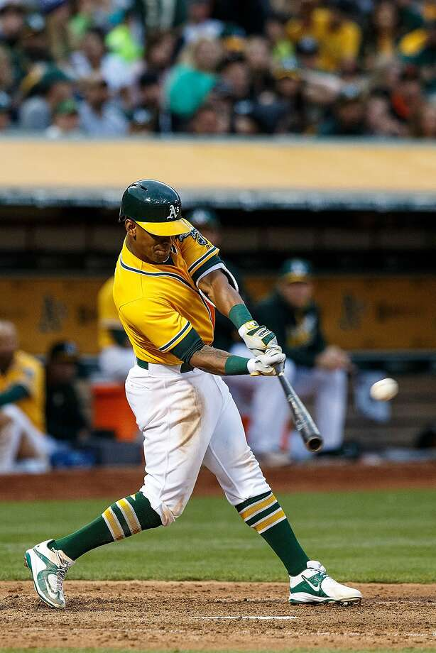 OAKLAND, CA - JUNE 17:  Khris Davis #2 of the Oakland Athletics hits a home run against the Los Angeles Angels of Anaheim during the fourth inning at the Oakland Coliseum on June 17, 2016 in Oakland, California. The Oakland Athletics defeated the Los Angeles Angels of Anaheim 3-2. (Photo by Jason O. Watson/Getty Images) Photo: Jason O. Watson, Getty Images