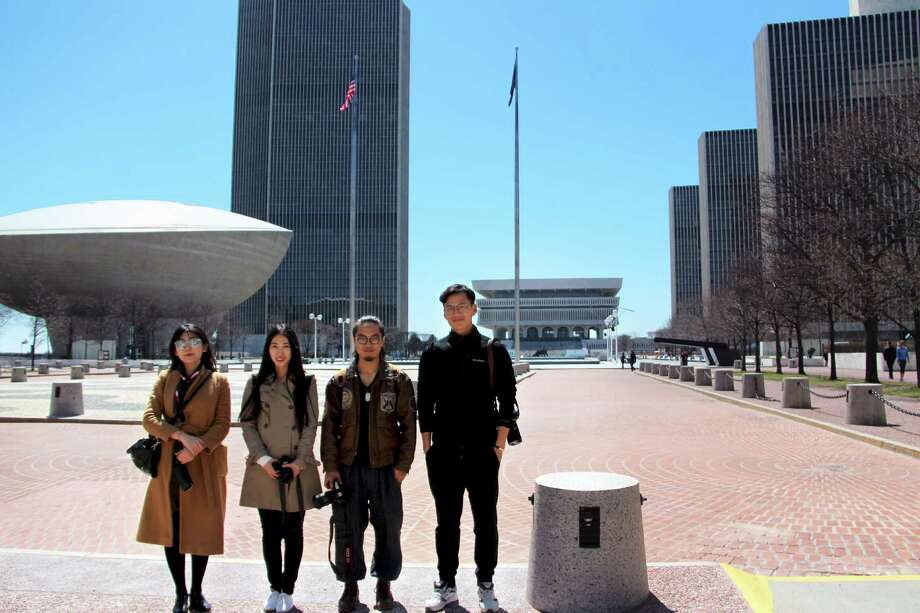 Fan Jingyi, Zhao Mengying, Wu Kaisi and Wang Li toured Albany in April after winning a contest. Their posts to social media were valued at $62,000 in advertising.
