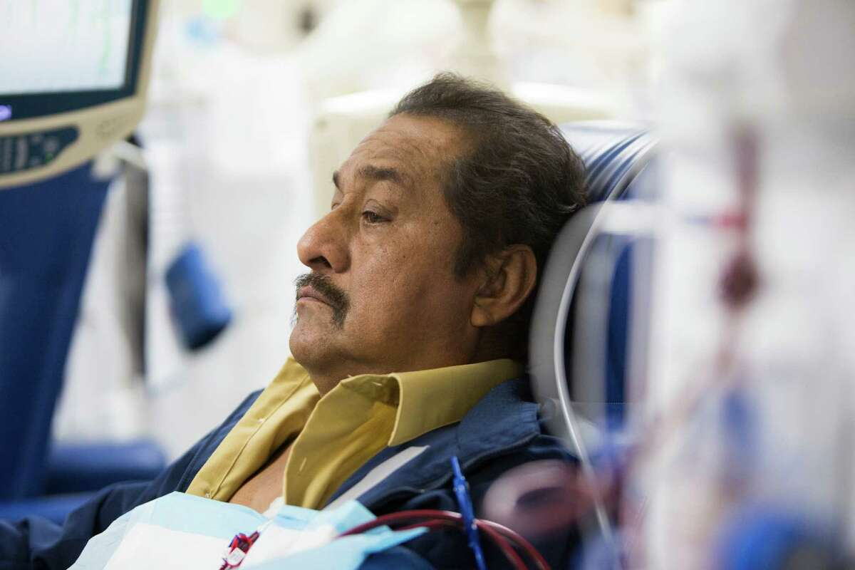 After years of going to the emergency room for treatment, Mario Flores, 56, is fortunate to gain a patient slot at Riverside Dialysis Center. His health has rebounded with the regular treatment.
