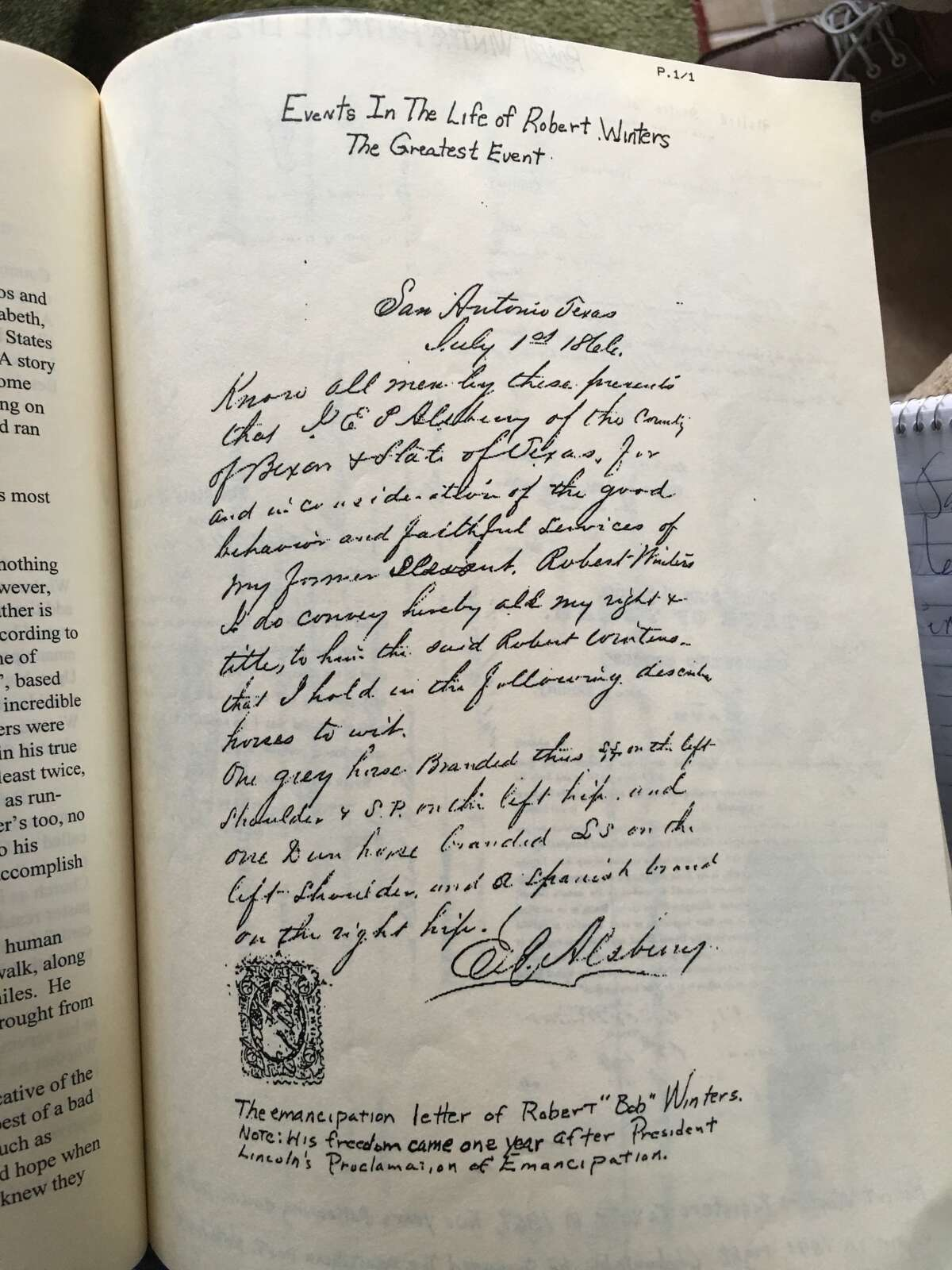 Descendants of the Winters family have a copy of the emancipation letter where E.C. Alsbury freed their ancestor Robert