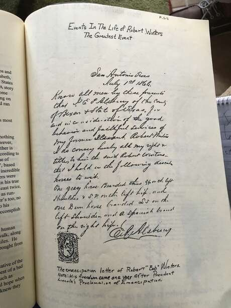 """Descendants of the Winters family have a copy of the emancipation letter where E.C. Alsbury freed their ancestor Robert """"Bob"""" Winters from slavery. The short letter is written in longhand and has """"San Antonio, Texas,"""" and """"July 1st, 1866,"""" at the top. In the letter, Alsbury credits Winters for """"faithful service"""" and gives him possession of two horses. Alsbury also helped Winters buy land. Photo: Vincent T. Davis"""