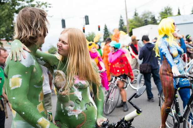 Naked bike riders wait to ride before the Fremont Solstice Parade on Saturday June 18, 2016. (GRANT HINDSLEY, seattlepi.com)