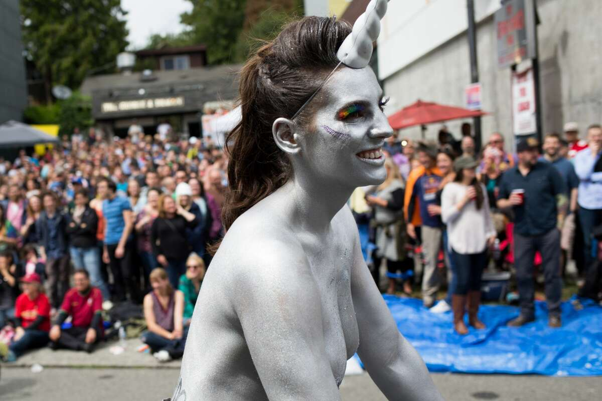 2016: Naked cyclists take to the streets before the Fremont Solstice Parade on Saturday, June 18, 2016.