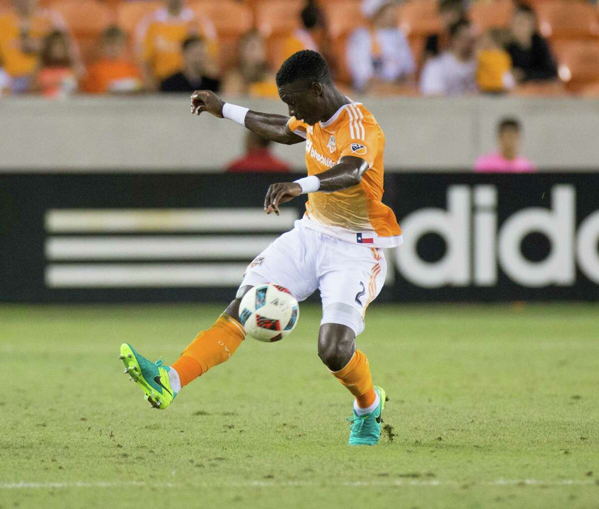 Houston Dynamo defender Jalil Anibaba (2) controlliing the ball mid-field during the second half of action between the Houston Dynamo and the D.C. United during a soccer game at BBVA Compass, Saturday, June 18, 2016, in Houston. Houston Dynamo tied D.C. United 0-0. ( Juan DeLeon / for the Houston Chronicle )
