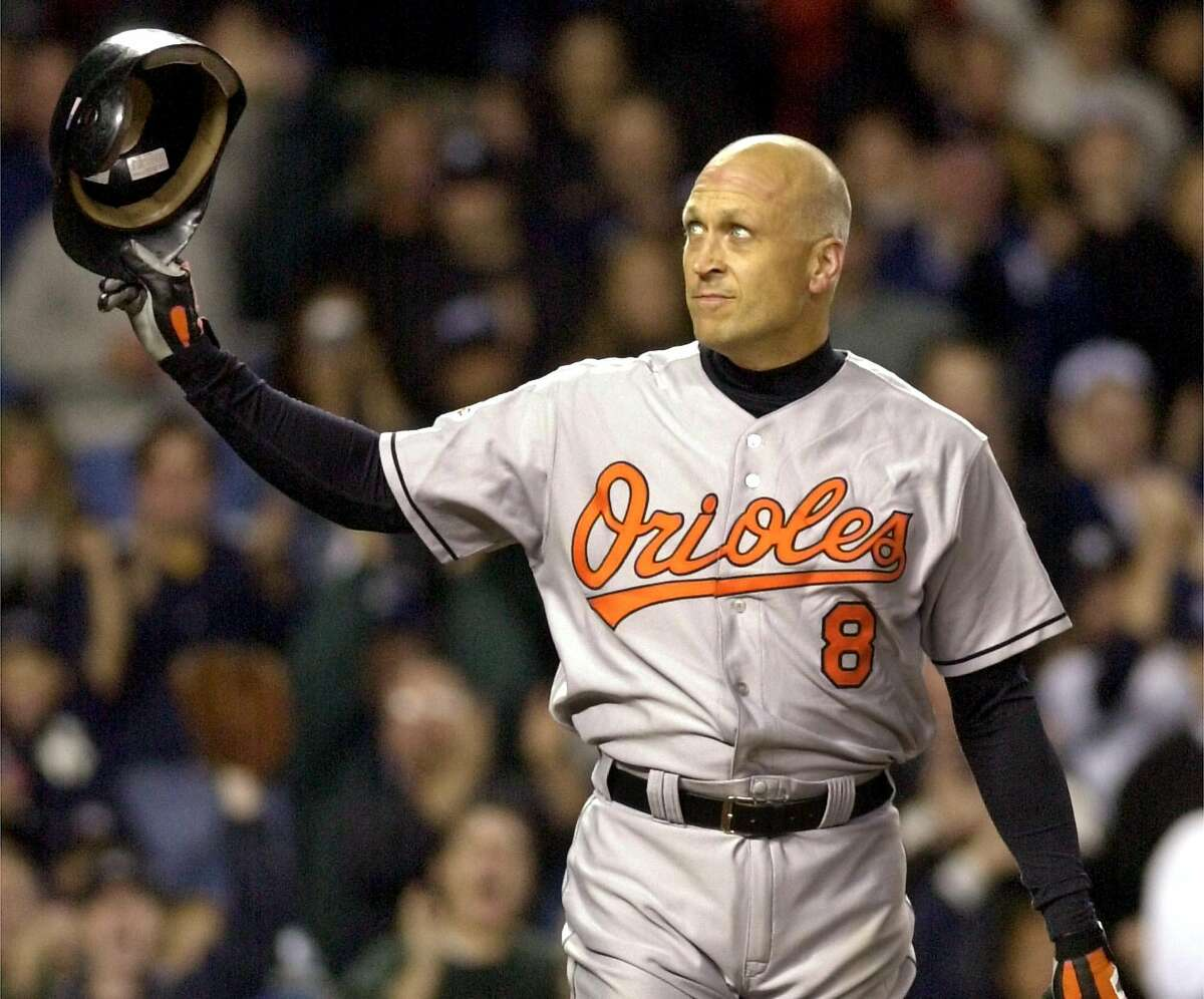 Baltimore Orioles' Cal Riken Jr. tips his cap to the fans giving him a standing ovation as he comes to bat in the second inning against the New York Yankees Friday, Sept. 28, 2001 at Yankee Stadium in New York. Ripken will retire at the end of the season.