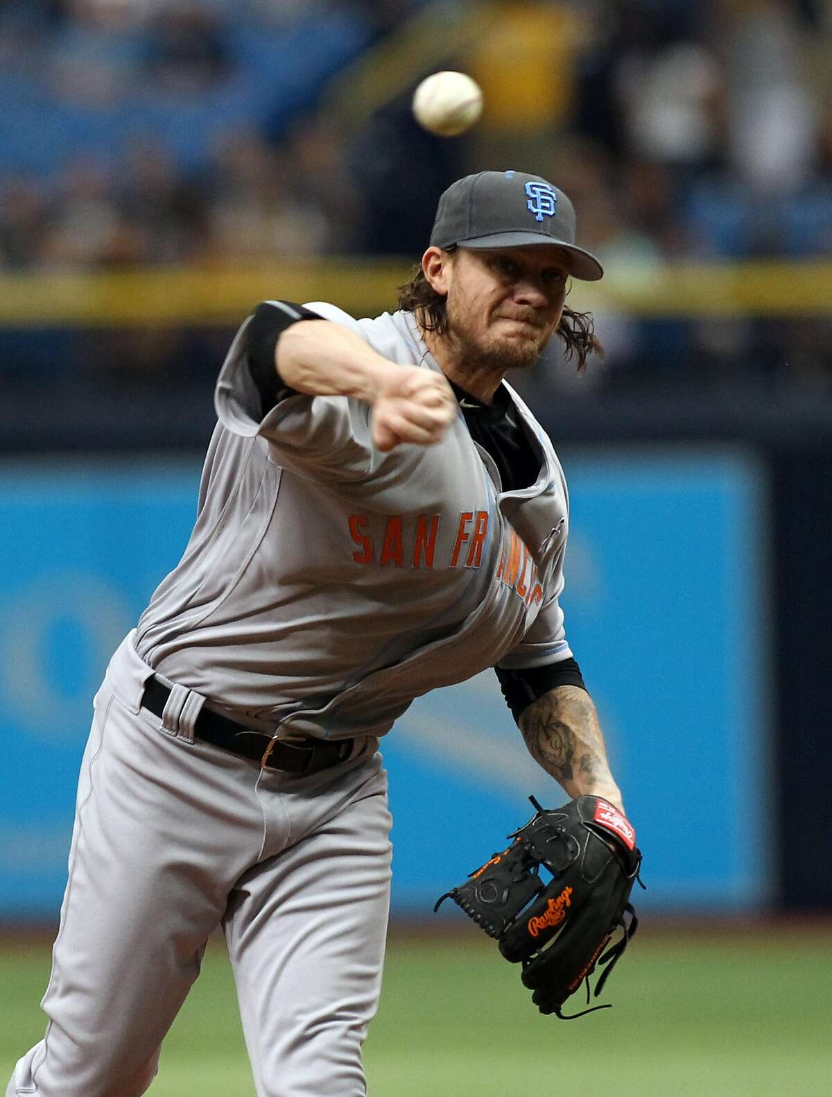 ST. PETERSBURG, FL - JUNE 19: Jake Peavy #22 of the San Francisco Giants pitches during the first inning of a game against the Tampa Bay Rays on June 19, 2016 at Tropicana Field in St. Petersburg, Florida. (Photo by Brian Blanco/Getty Images)