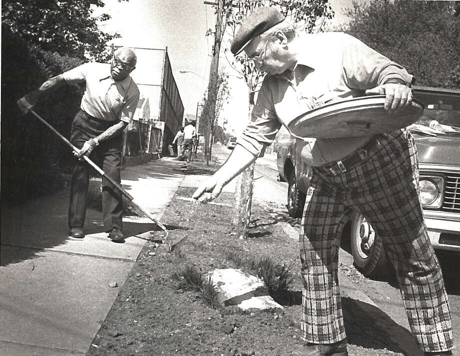 West Side neighborhood residents and city planners will be planting trees on May 10, 1983 in an effort to make the area look better. Photo: Staff Photo