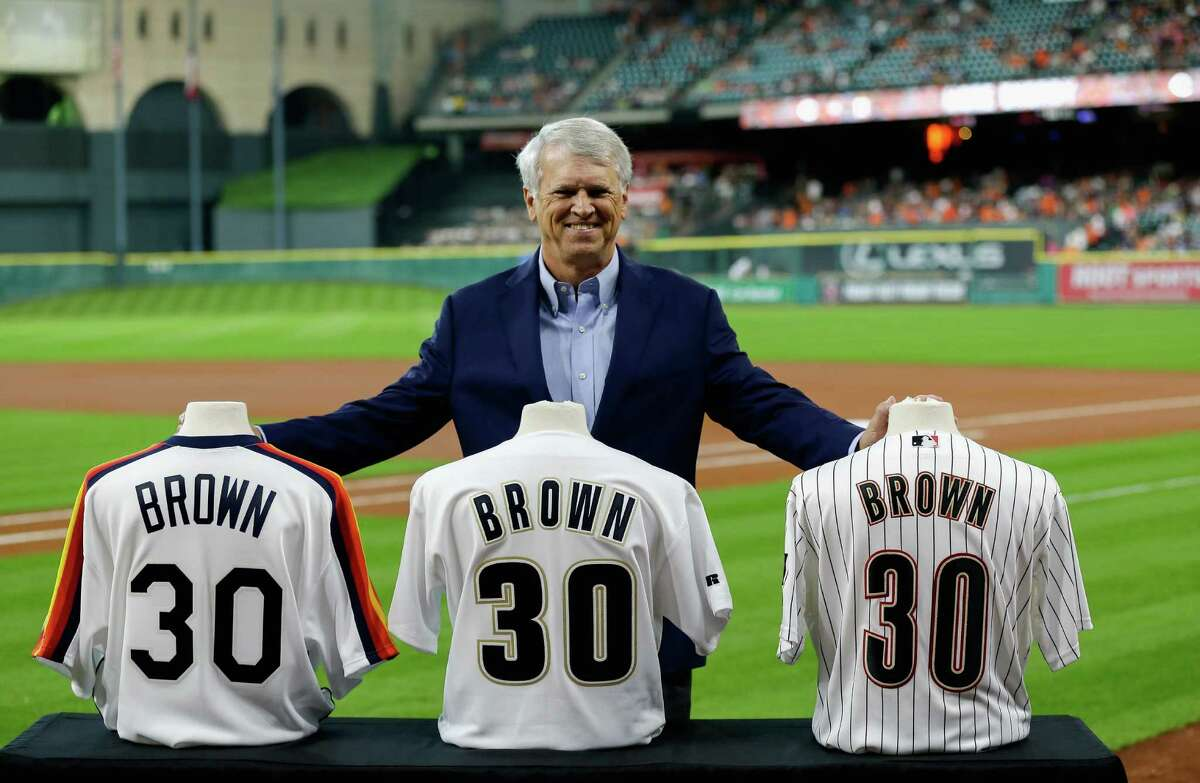 HOUSTON, TX - JUNE 19: Houston Astros television broadcaster Bill Brown was honored for his 30 years with the team before the game at Minute Maid Park on June 19, 2016 in Houston, Texas.