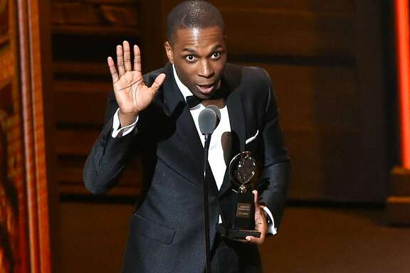 "FILE - In a Sunday, June 12, 2016 file photo, Leslie Odom Jr. accepts the award for leading actor in a musical for ""Hamilton,"" at the Tony Awards at the Beacon Theatre, in New York. Odom, Jr. will be leaving the show after its evening performance on Saturday, July 9, along with his costars Lin-Manuel Miranda. (Photo by Evan Agostini/Invision/AP, File)"