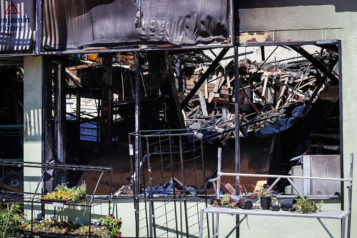 The inside of hardware store Cole Hardware can be seen destroyed after a five-alarm fire tore through the building yesterday near the corner of Mission St. and 29th St in San Francisco, California, on Sunday, June 19, 2016.