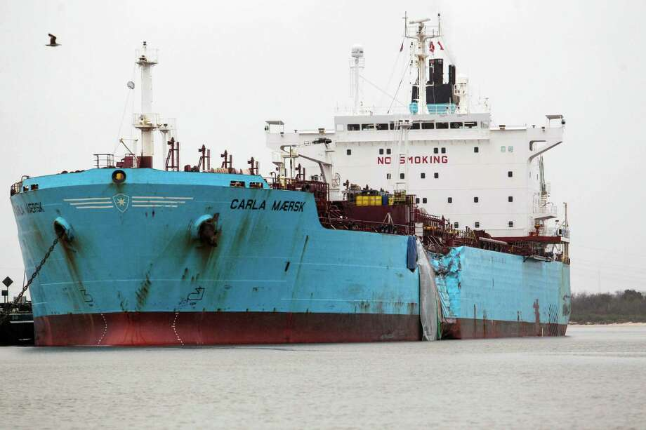"""Pilot George C. """"Chris"""" Reeser says an unexplained loss of speed indicates that ultra low-sulphur fuel oil is to blame for the crash between the ship he was piloting, the Conti Peridot, and the Carla Maersk chemical tanker, shown above. Photo: Billy Smith II, MBI / Houston Chronicle"""