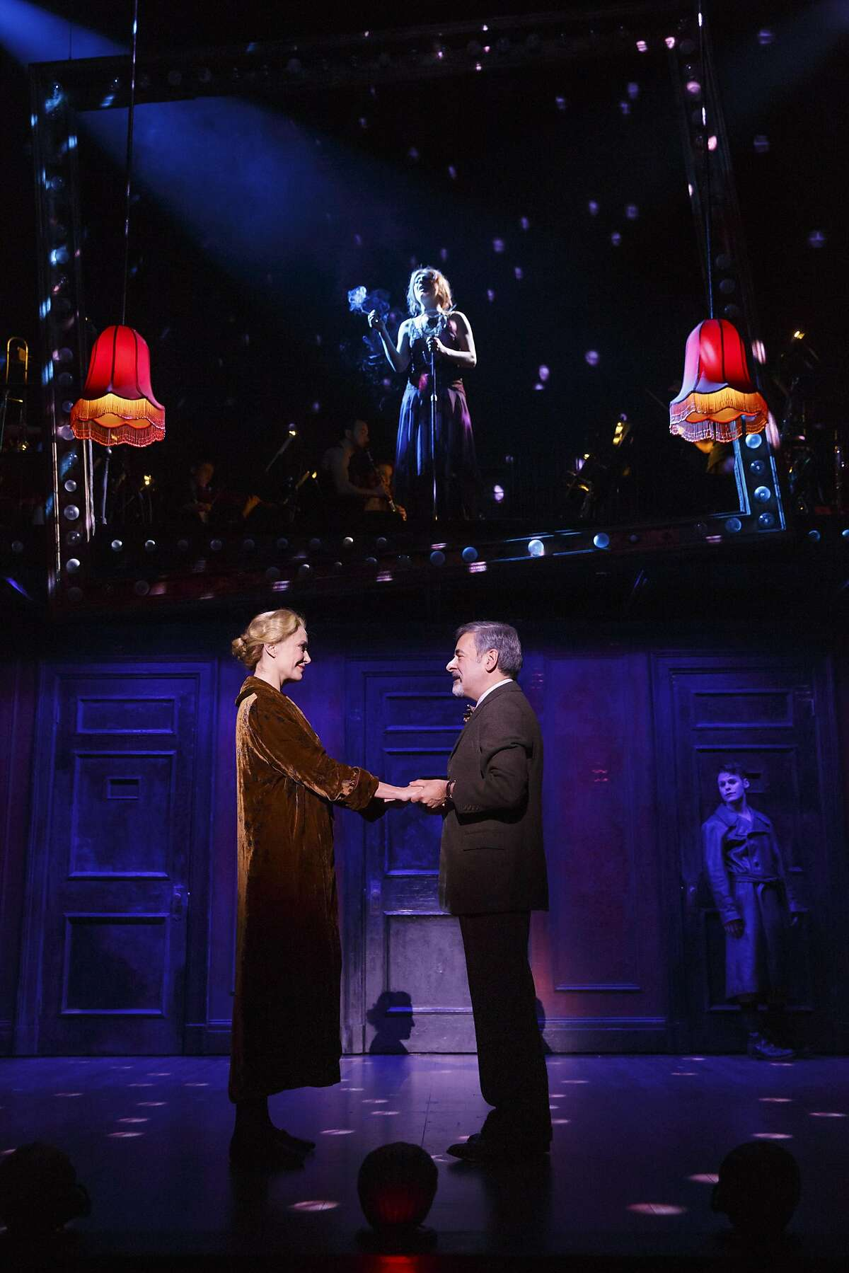 """Shannon Cochran as Fr�ulein Schneider, Mark Nelson as Herr Schultz, Alison Ewing (above) as Fr�ulein Kost and Randy Harrison (background) as the Emcee in the 2016 national touring production of Roundabout Theatre Company�s """"Cabaret."""""""
